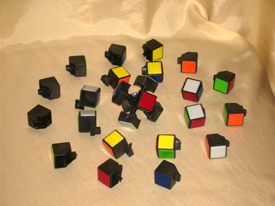 A fully dismantled rubik's cube